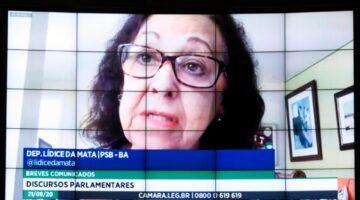 Lídice destaca descaso da ministra Damares no combate à violência doméstica e pede urgência para suspensão de consignados e apoio ao cinema