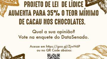 Enquete do Senado avaliar opinião da sociedade sobre projeto que aumenta teor de cacau em produtos à base de chocolate